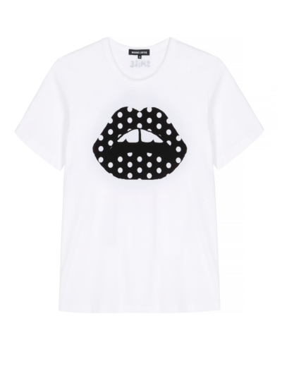 Anna Polka Dot Lip Relaxed-Fit Tee