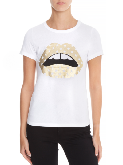Kelly Metallic Star Lip Slim-Fit Tee