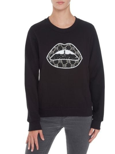 Leonie Sequin Iconic Lip Relaxed-Fit Sweatshirt