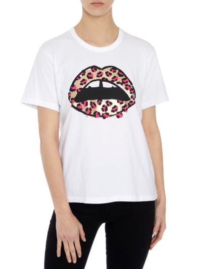 Anna Metallic Leopard Lip Relaxed-Fit Tee
