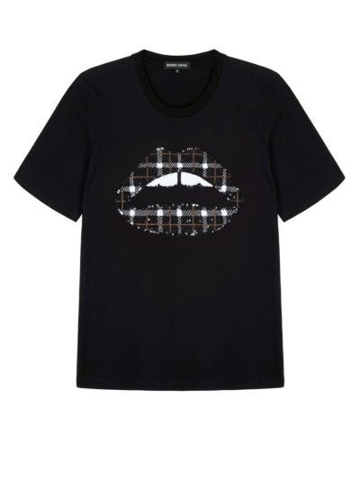 Alex Sequin Check Lip Relaxed-Fit Tee