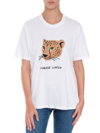 Alex Sequin Cheetah Relaxed-Fit Tee