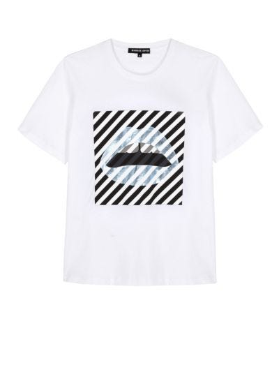 Alex Diagonal Stripe Lip Relaxed-Fit Tee