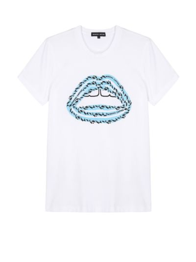 Kate Printed School Of Fish Lip Slim-Fit Tee