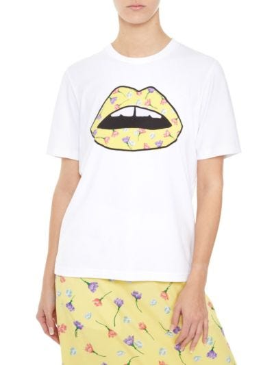 Alex Printed Floaty Floral Lip Tee