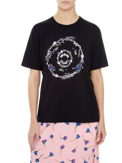 Alex Sequin Underwater Garden Relaxed-Fit Tee