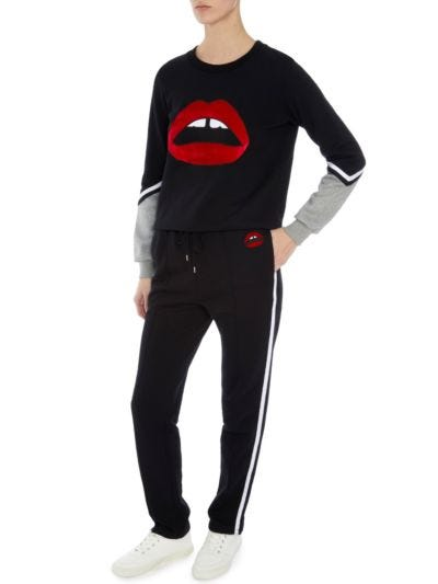 Tamsin Velvet Lip Relaxed-Fit Sweatshirt