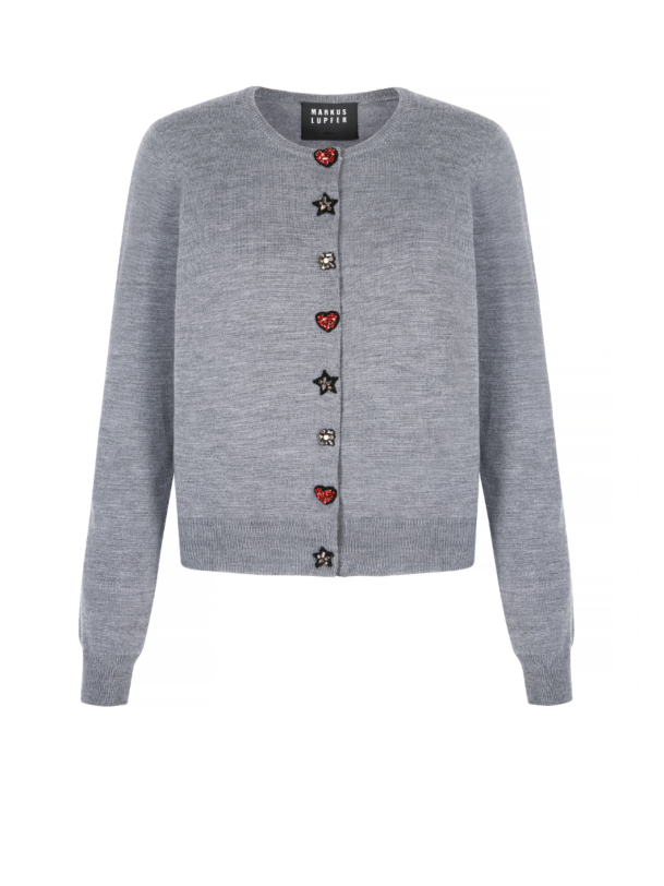 Classic Button Jeweled trimed Cardigan