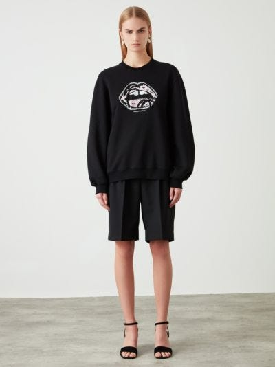 Sequin Desert Island Lip Patch Sophie Sweatshirt