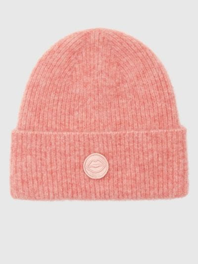 Embroidered Lip Patch Beanie Hat