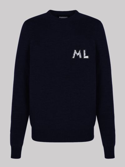 Personalised Mia Sequin Monogram Slim-Fit Jumper