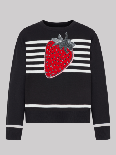 Intarsia Stripe Sequin Strawberry Drew Jumper