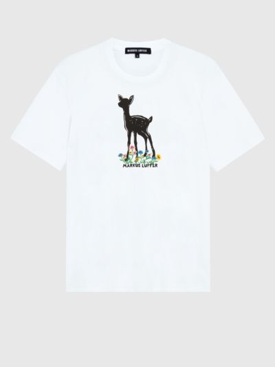 Fawn and Embroidered Flowers Alex Tee